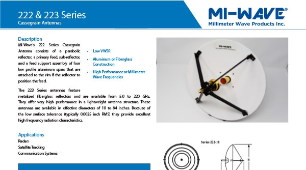 cassegrain reflector antenna