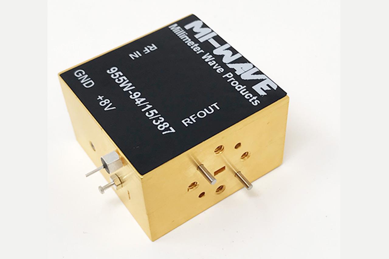 RF Power Amplifier, 92 GHz - 96 GHz, Small Signal Gain (dB) 12 dB, Noise Figure 4 dB, Output Power(Psat) (dBm) +8 dBm