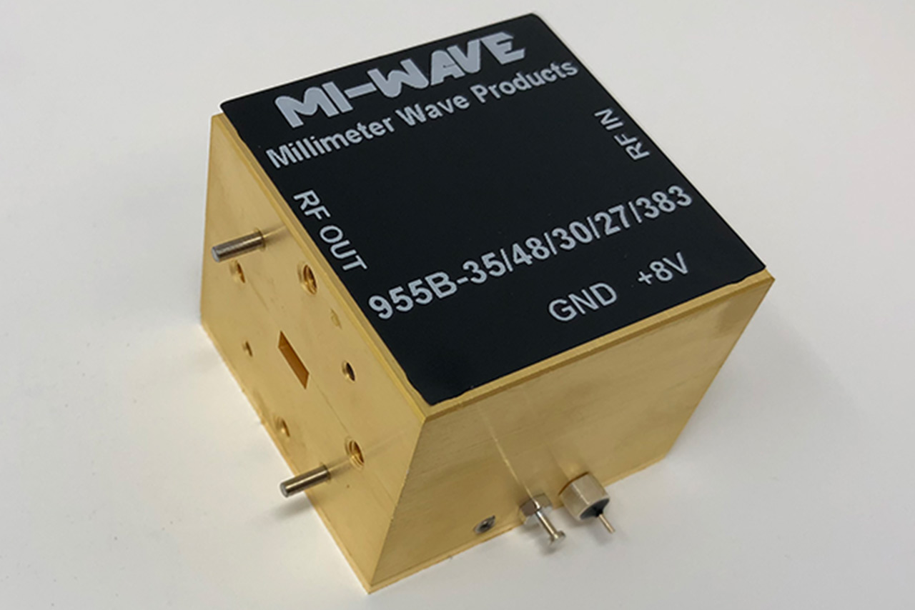 955B-35/48/30/27/383, Power Amplifier, 35 GHz - 48 GHz, Small Signal Gain 30 dB, Output P1dB 25 dBm, Output Saturated Power 27 dBm
