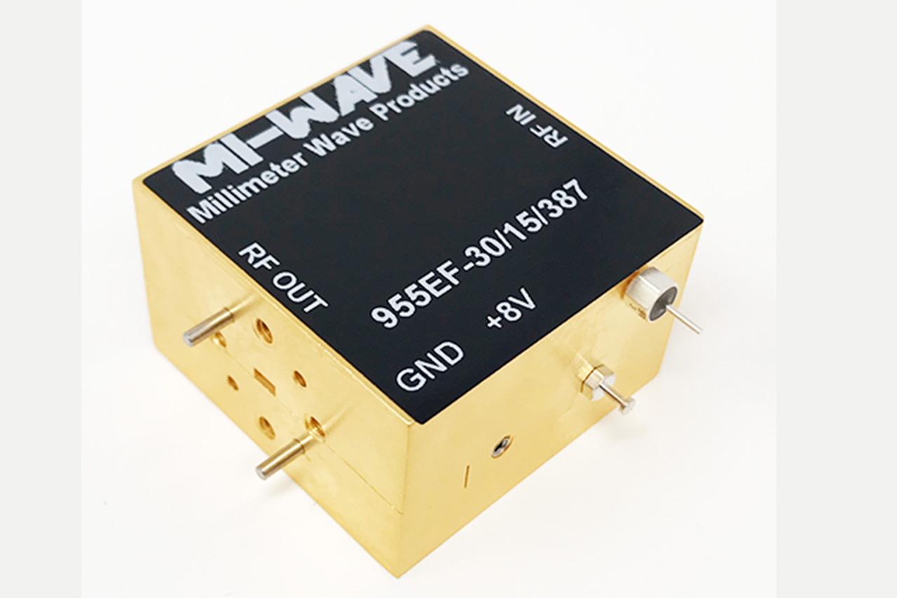 955EF-30/15/387, RF Power Amplifier, 60GHz - 90GHz, Small Signal Gain (dB) 30 dB, Output Power @ Psat (dBm) 15 dBm, Noise Figure (dB) 5 dB