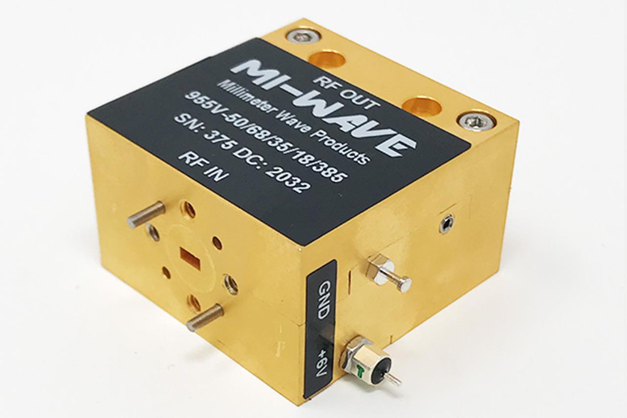Power Amplifier, 50 GHz - 68 GHz, Small Signal Gain 35 dB, Output Power(Psat) (dBm) +15 dBm, WR-15